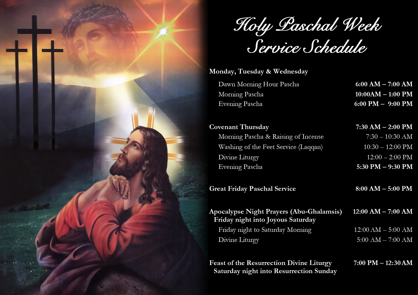 Web Schedule - Holy Week